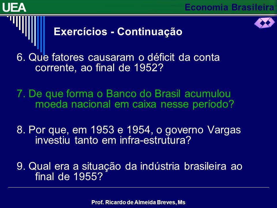 Economia Brasileira Prof. Ricardo de Almeida Breves, Ms 1. Que setor da economia passou a liderar o crescimento industrial após 1945? 2. Por que, em 1