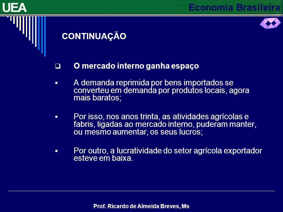 Economia Brasileira Prof. Ricardo de Almeida Breves, Ms A INDUSTRIALIZAÇÃO A Substituição de importações No começo da década dos anos trinta, a econom