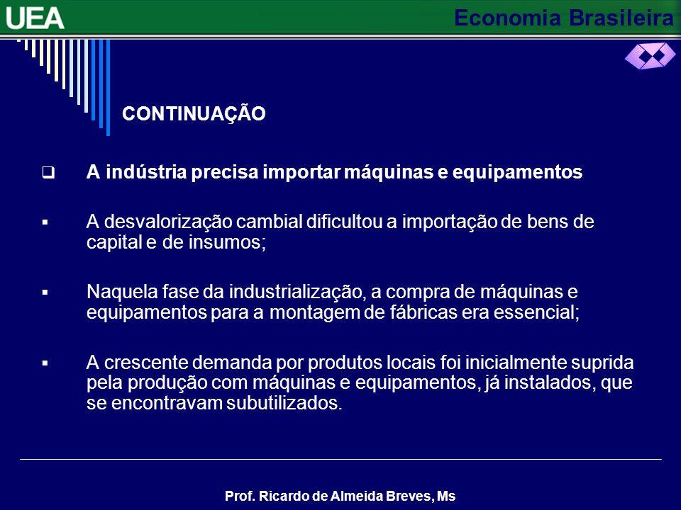 Economia Brasileira Prof. Ricardo de Almeida Breves, Ms CONTINUAÇÃO O mercado interno ganha espaço A demanda reprimida por bens importados se converte