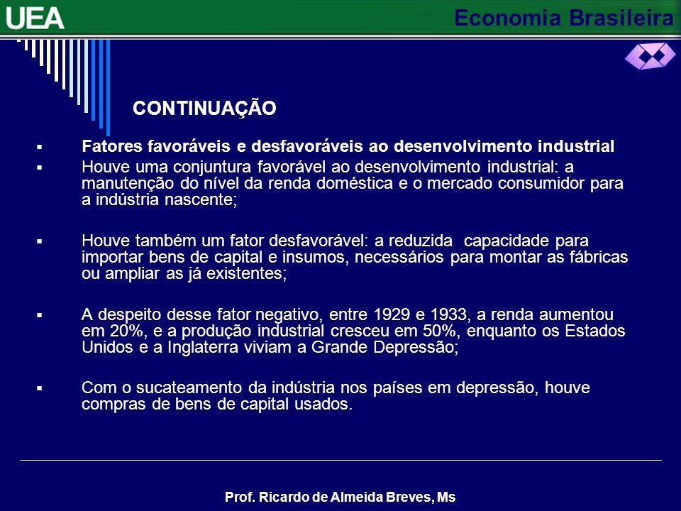 Economia Brasileira Prof. Ricardo de Almeida Breves, Ms CONTINUAÇÃO A indústria precisa importar máquinas e equipamentos A desvalorização cambial difi