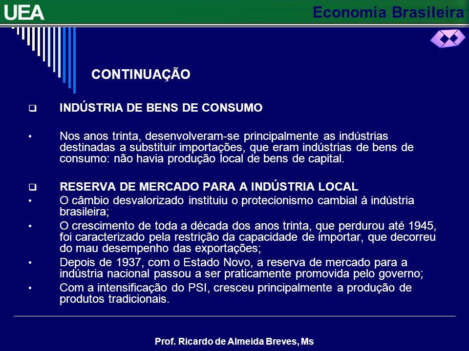 Economia Brasileira Prof. Ricardo de Almeida Breves, Ms CONTINUAÇÃO Fatores favoráveis e desfavoráveis ao desenvolvimento industrial Houve uma conjunt