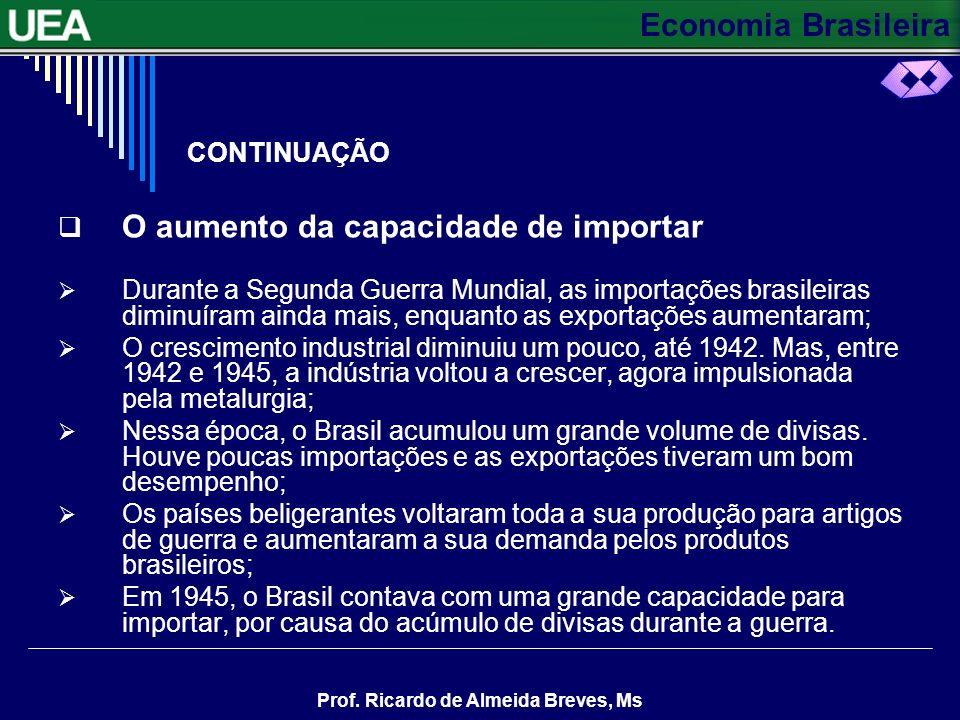 Economia Brasileira Prof. Ricardo de Almeida Breves, Ms CONTINUAÇÃO Crescendo sem Tecnologia A severa restrição à importação criou dificuldades para o