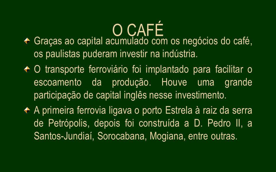 O CAFÉ Graças ao capital acumulado com os negócios do café, os paulistas puderam investir na indústria.