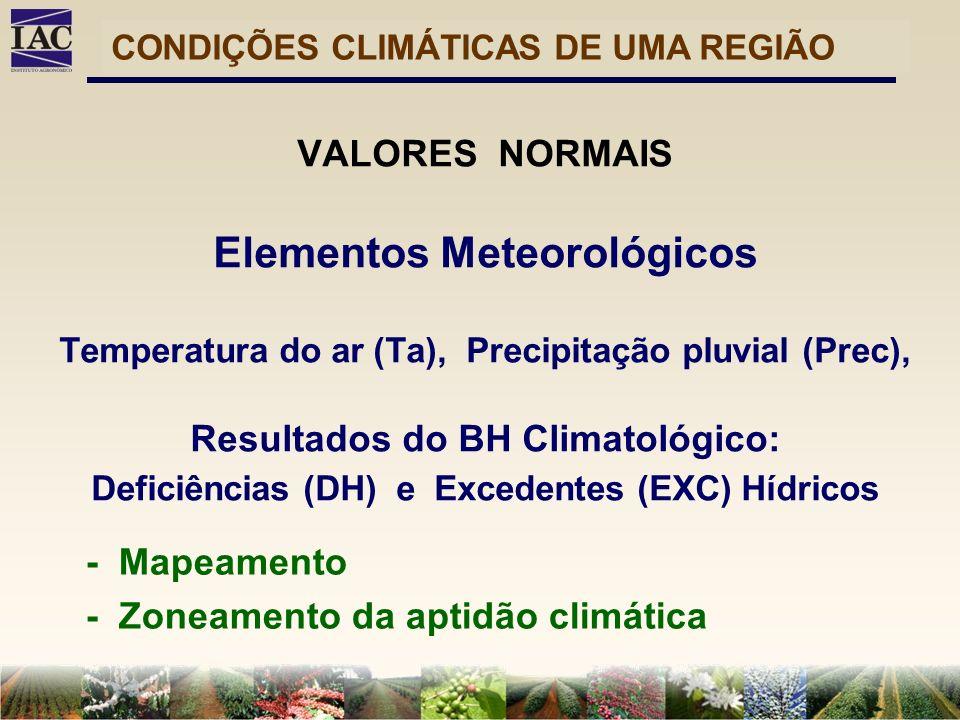 - Mapeamento - Zoneamento da aptidão climática VALORES NORMAIS Elementos Meteorológicos Temperatura do ar (Ta), Precipitação pluvial (Prec), Resultado