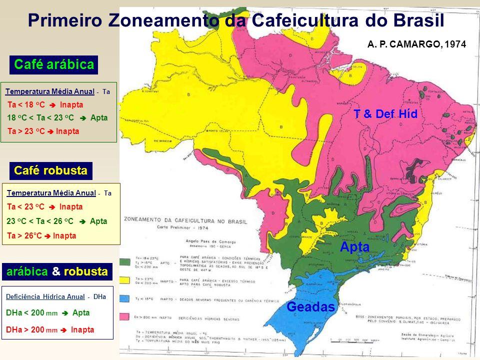 Primeiro Zoneamento da Cafeicultura do Brasil Apta T > 23 o C Geadas T & Def Híd Café arábica Café robusta A. P. CAMARGO, 1974 Temperatura Média Anual