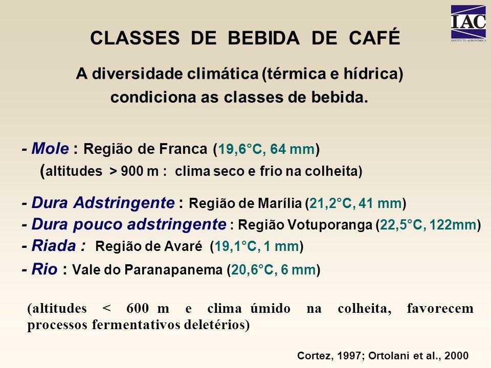 CLASSES DE BEBIDA DE CAFÉ - Mole : Região de Franca ( 19,6°C, 64 mm ) ( altitudes > 900 m : clima seco e frio na colheita) - Dura Adstringente : Regiã