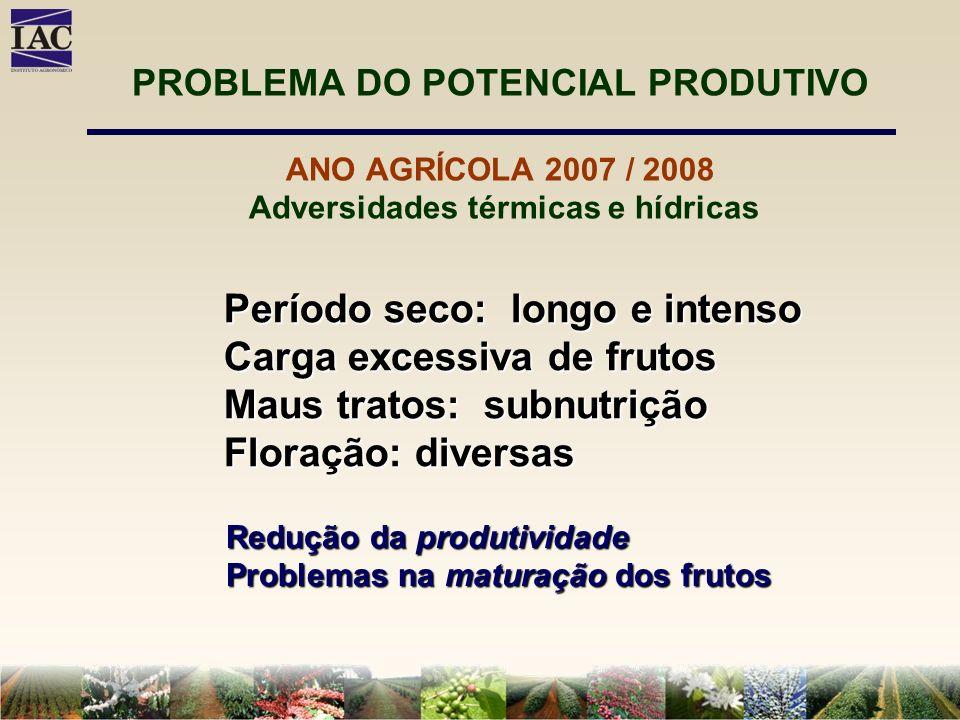 PROBLEMA DO POTENCIAL PRODUTIVO ANO AGRÍCOLA 2007 / 2008 Adversidades térmicas e hídricas Período seco: longo e intenso Carga excessiva de frutos Maus