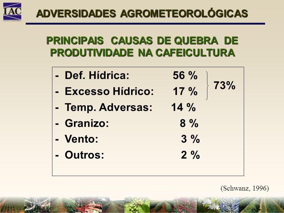 PRINCIPAIS CAUSAS DE QUEBRA DE PRODUTIVIDADE NA CAFEICULTURA ADVERSIDADES AGROMETEOROLÓGICAS - Def. Hídrica: 56 % - Excesso Hídrico: 17 % - Temp. Adve