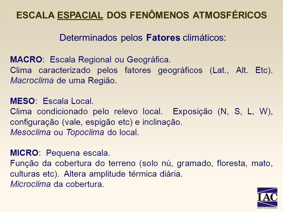 Determinados pelos Fatores climáticos: MACRO: Escala Regional ou Geográfica. Clima caracterizado pelos fatores geográficos (Lat., Alt. Etc). Macroclim