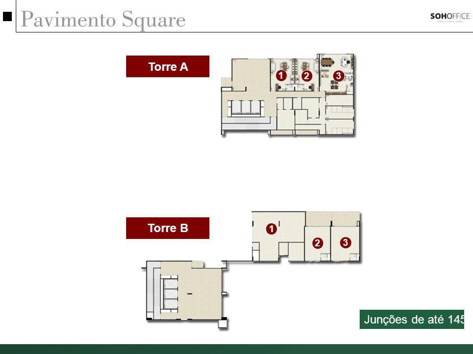 Pavimento Square Torre A Torre B 1 2 3 1 23 Junções de até 145m²
