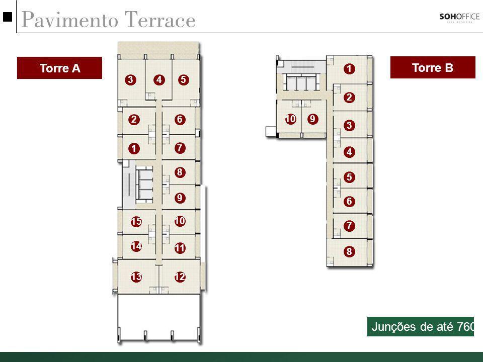 Pavimento Terrace Torre A Torre B 1 2 3 4 5 6 7 8 910 1 2 345 6 7 8 9 11 1213 14 15 Junções de até 760m²
