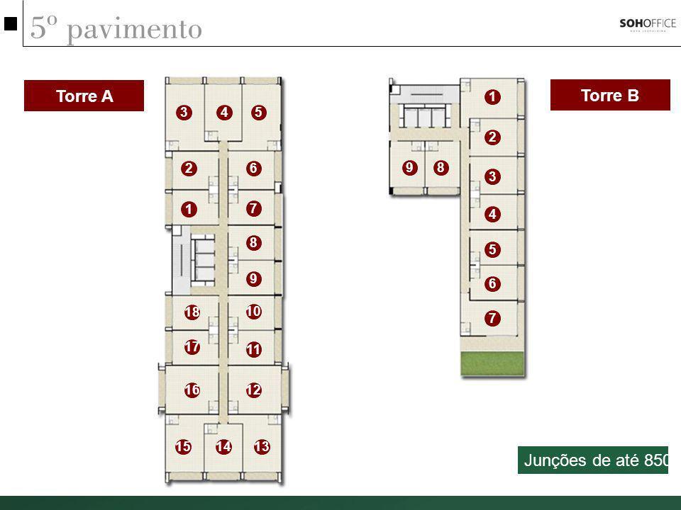 5º pavimento Torre A Torre B 1 2 3 4 5 6 7 89 1 2 345 6 7 8 9 10 11 1216 17 18 131415 Junções de até 850m²
