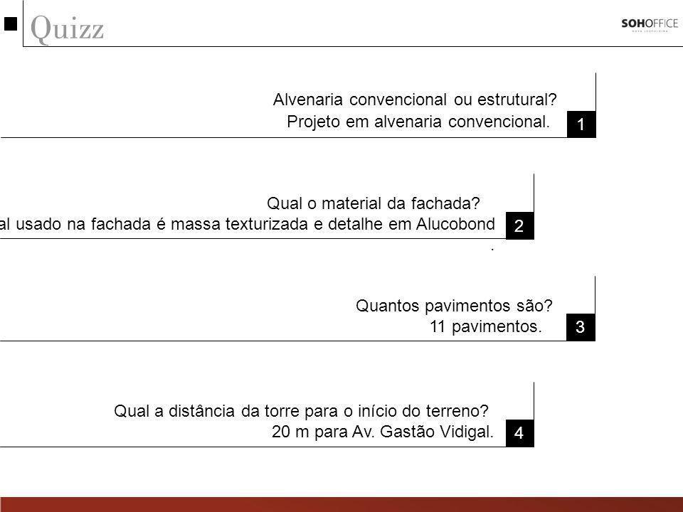 Quizz 1 Alvenaria convencional ou estrutural.Projeto em alvenaria convencional.
