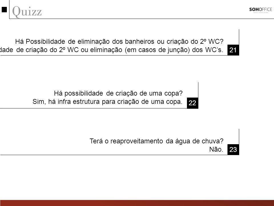 Quizz 21 22 Há Possibilidade de eliminação dos banheiros ou criação do 2º WC? Sim há possibilidade de criação do 2º WC ou eliminação (em casos de junç