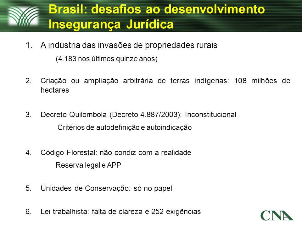 Brasil: desafios ao desenvolvimento Insegurança Jurídica 1.A indústria das invasões de propriedades rurais (4.183 nos últimos quinze anos) 2.Criação o