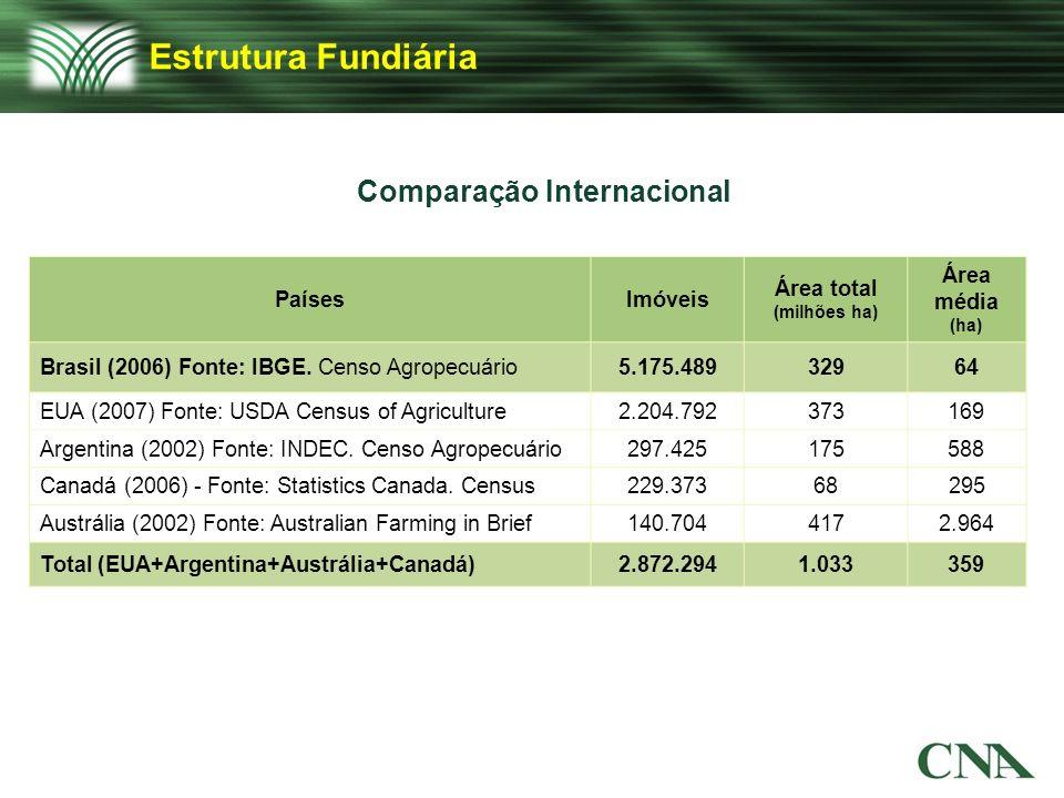 Comparação Internacional PaísesImóveis Área total (milhões ha) Área média (ha) Brasil (2006) Fonte: IBGE. Censo Agropecuário5.175.48932964 EUA (2007)