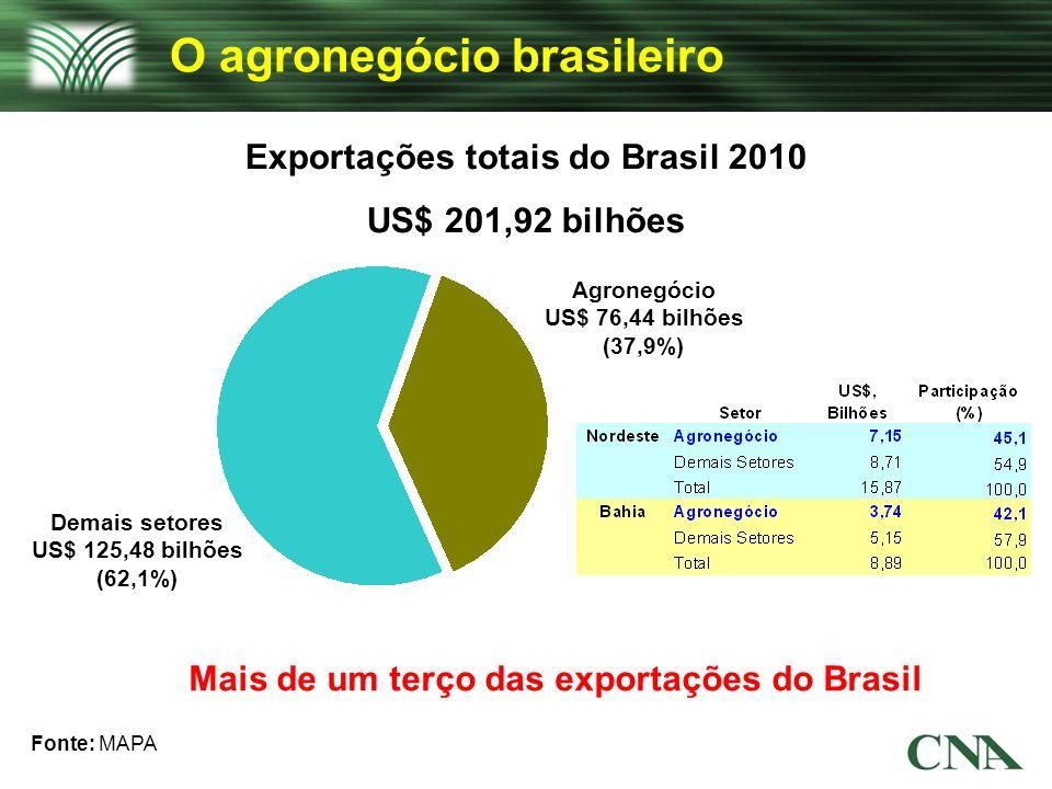 Exportações totais do Brasil 2010 US$ 201,92 bilhões Fonte: MAPA Demais setores US$ 125,48 bilhões (62,1%) Agronegócio US$ 76,44 bilhões (37,9%) O agr