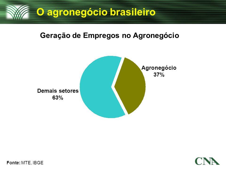 Geração de Empregos no Agronegócio Fonte: MTE, IBGE Agronegócio 37% O agronegócio brasileiro Demais setores 63%