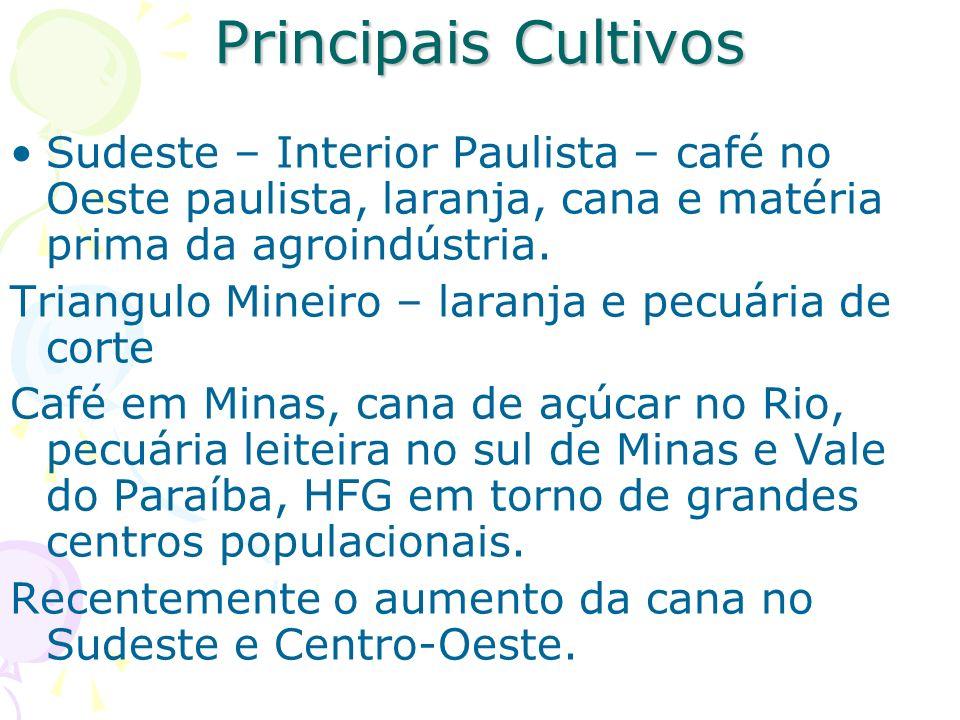 Principais Cultivos Sudeste – Interior Paulista – café no Oeste paulista, laranja, cana e matéria prima da agroindústria. Triangulo Mineiro – laranja