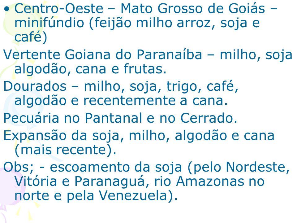 Centro-Oeste – Mato Grosso de Goiás – minifúndio (feijão milho arroz, soja e café) Vertente Goiana do Paranaíba – milho, soja algodão, cana e frutas.