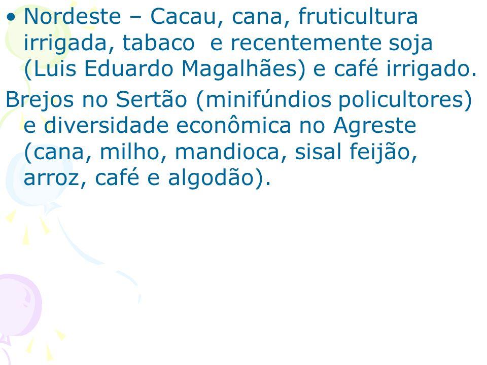 Nordeste – Cacau, cana, fruticultura irrigada, tabaco e recentemente soja (Luis Eduardo Magalhães) e café irrigado. Brejos no Sertão (minifúndios poli