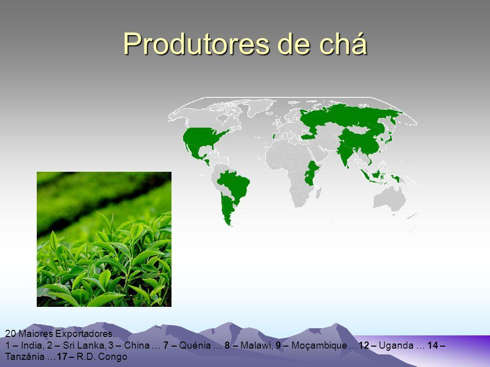 Produtores de chá 20 Maiores Exportadores 1 – India, 2 – Sri Lanka, 3 – China … 7 – Quénia … 8 – Malawi, 9 – Moçambique …12 – Uganda … 14 – Tanzânia …17 – R.D.