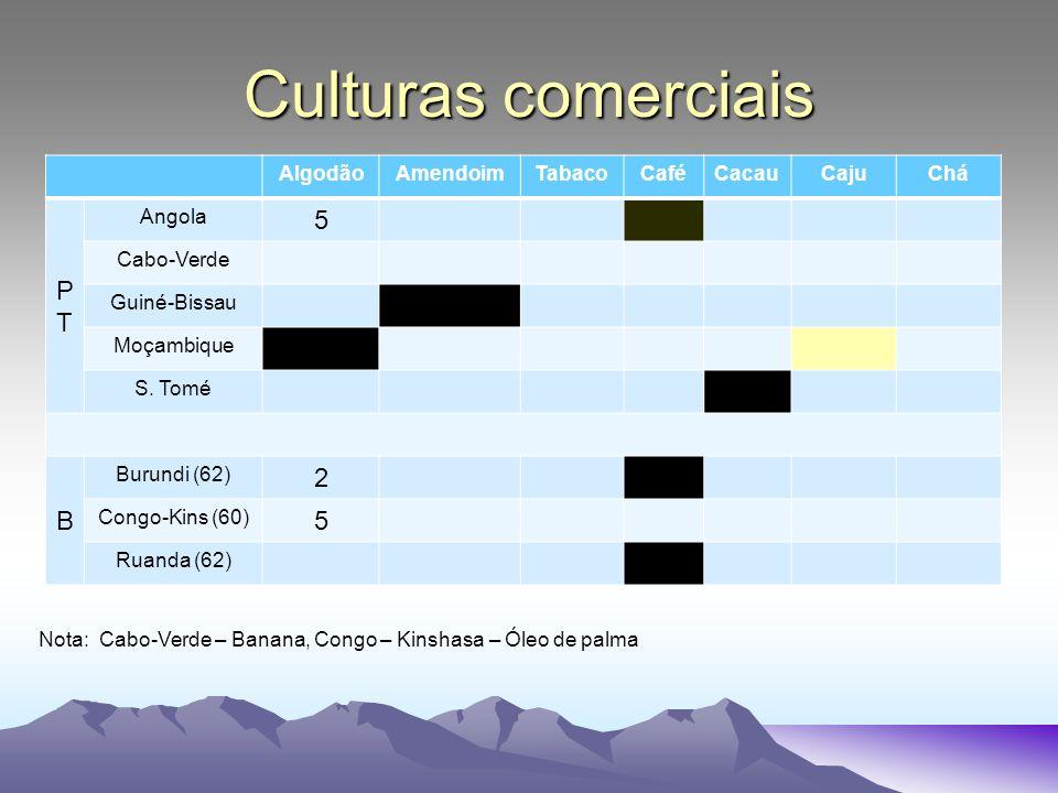 Culturas comerciais AlgodãoAmendoimTabacoCaféCacauCajuChá PTPT Angola 5 Cabo-Verde Guiné-Bissau Moçambique S. Tomé B Burundi (62) 2 Congo-Kins (60) 5