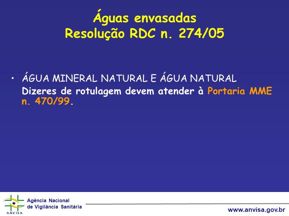 Agência Nacional de Vigilância Sanitária Agência Nacional de Vigilância Sanitária www.anvisa.gov.br Águas envasadas Resolução RDC n. 274/05 ÁGUA MINER