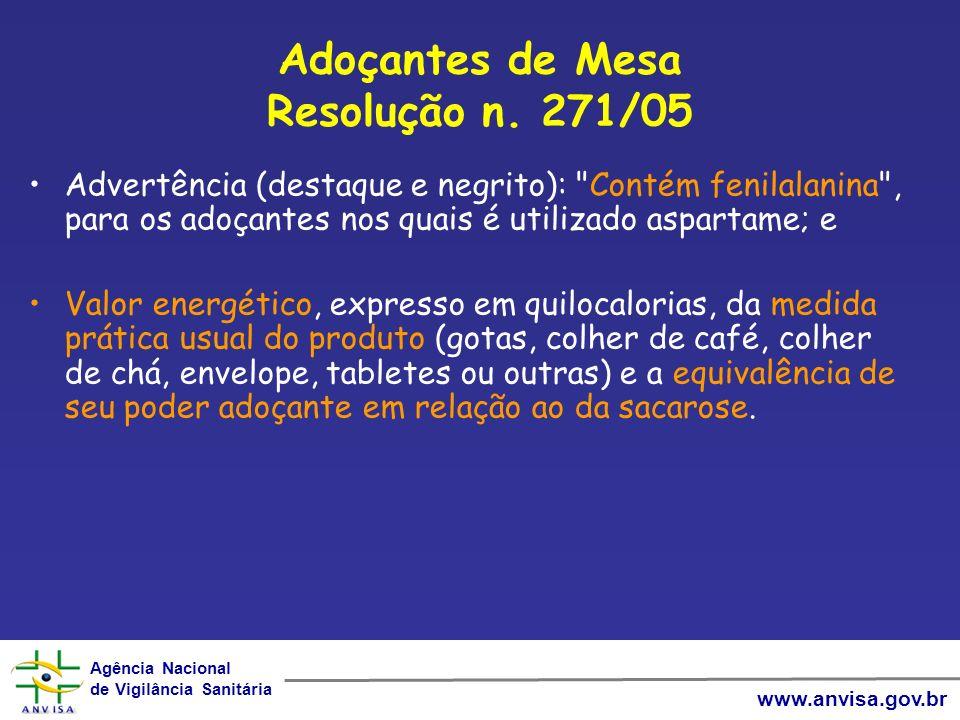 Agência Nacional de Vigilância Sanitária Agência Nacional de Vigilância Sanitária www.anvisa.gov.br Adoçantes de Mesa Resolução n.