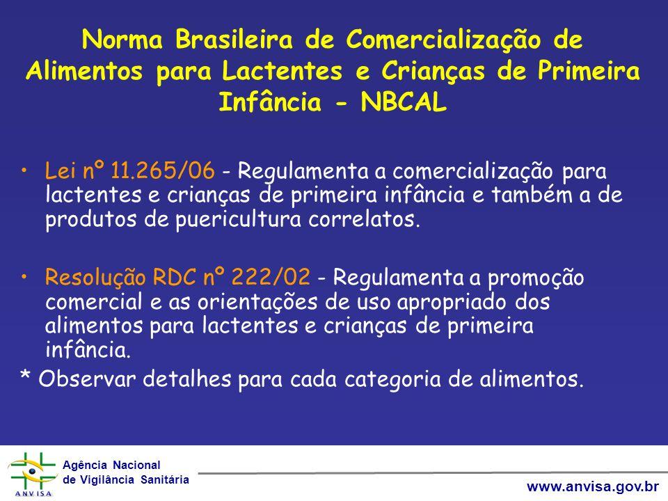 Agência Nacional de Vigilância Sanitária Agência Nacional de Vigilância Sanitária www.anvisa.gov.br Norma Brasileira de Comercialização de Alimentos p