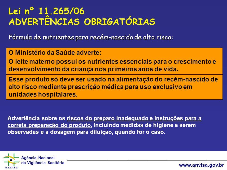 Agência Nacional de Vigilância Sanitária Agência Nacional de Vigilância Sanitária www.anvisa.gov.br O Ministério da Saúde adverte: O leite materno pos