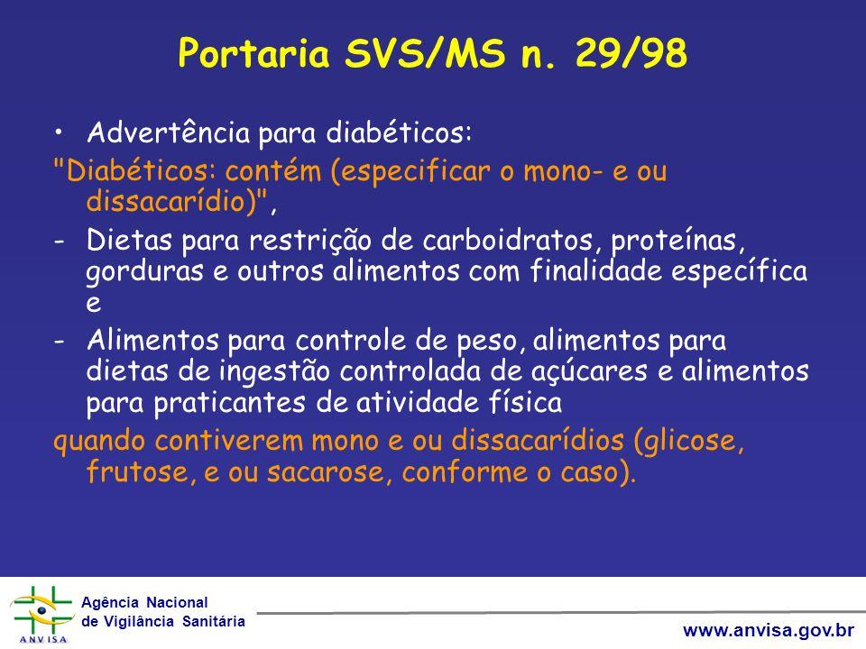 Agência Nacional de Vigilância Sanitária Agência Nacional de Vigilância Sanitária www.anvisa.gov.br Portaria SVS/MS n. 29/98 Advertência para diabétic