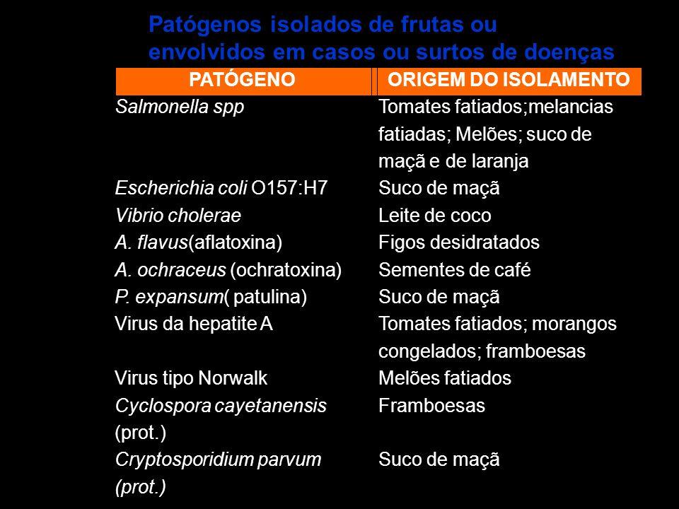 PATÓGENO Salmonella spp Escherichia coli O157:H7 Vibrio cholerae A. flavus(aflatoxina) A. ochraceus (ochratoxina) P. expansum( patulina) Virus da hepa