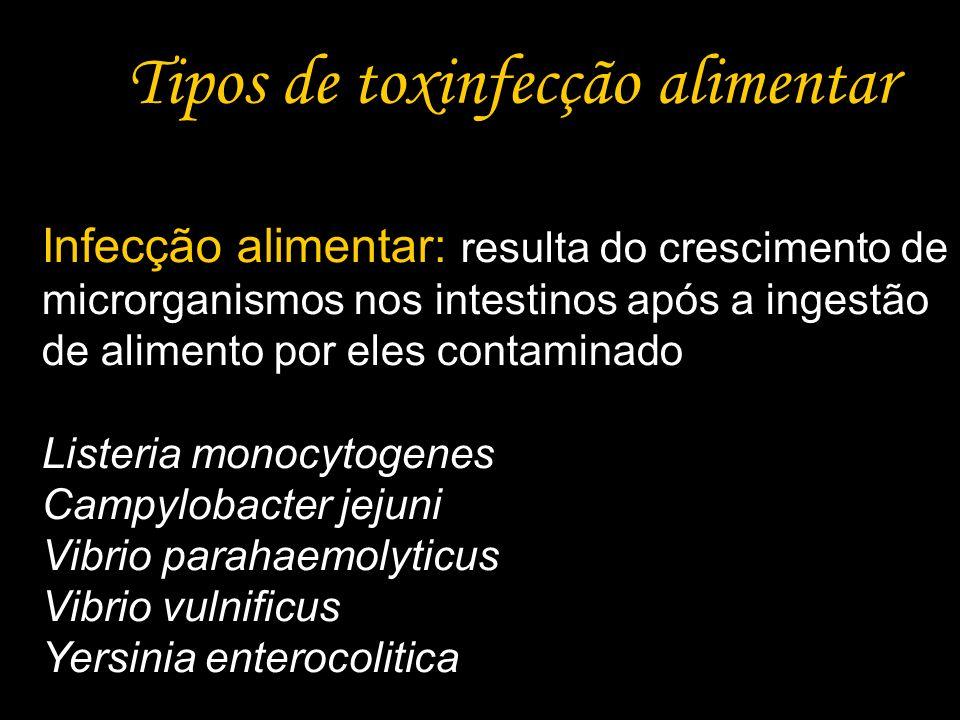 Tipos de toxinfecção alimentar Infecção alimentar: resulta do crescimento de microrganismos nos intestinos após a ingestão de alimento por eles contam