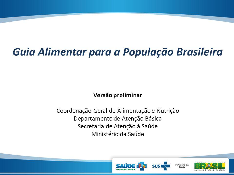 Versão preliminar Coordenação-Geral de Alimentação e Nutrição Departamento de Atenção Básica Secretaria de Atenção à Saúde Ministério da Saúde Guia Al