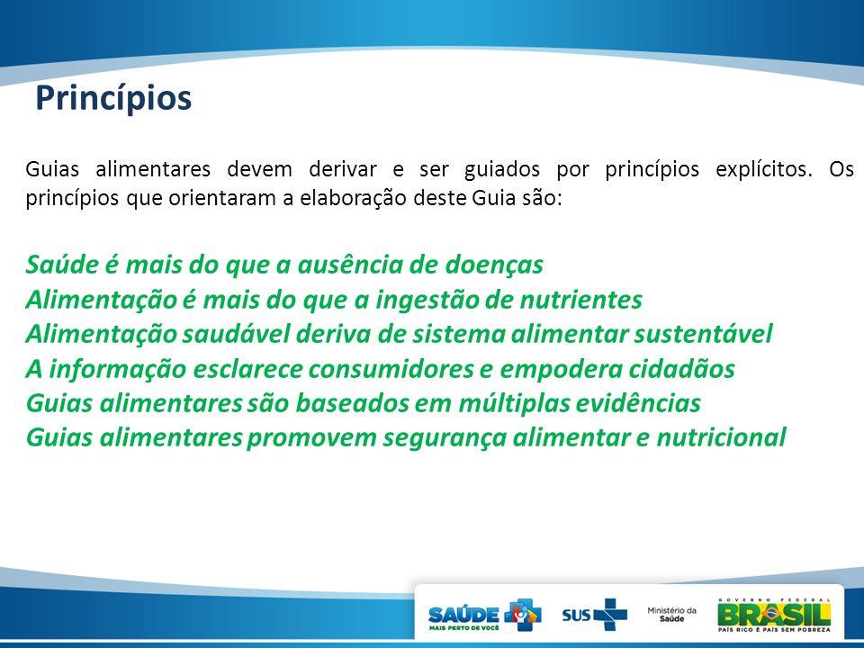 Princípios Guias alimentares devem derivar e ser guiados por princípios explícitos. Os princípios que orientaram a elaboração deste Guia são: Saúde é