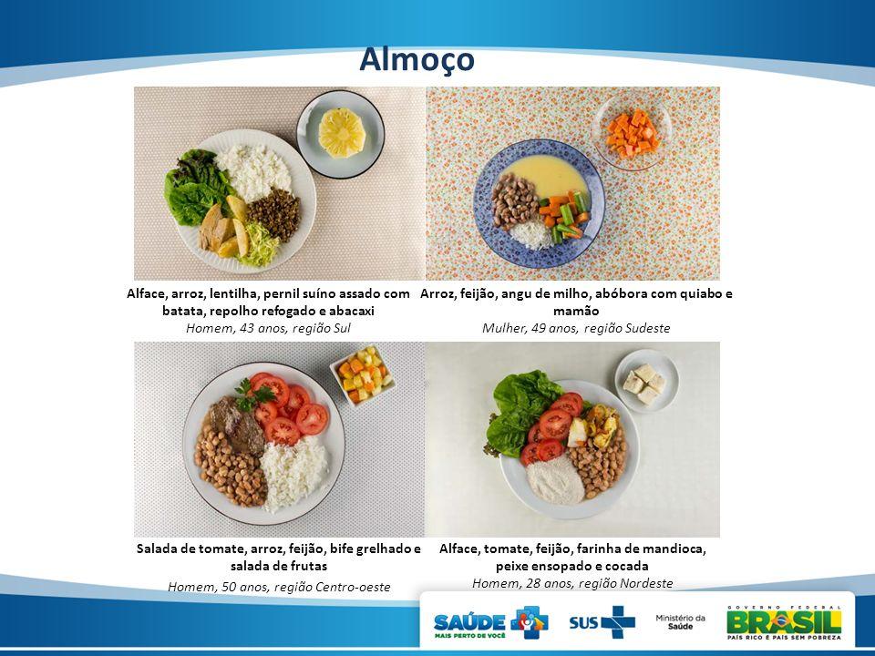 Almoço Alface, arroz, lentilha, pernil suíno assado com batata, repolho refogado e abacaxi Homem, 43 anos, região Sul Arroz, feijão, angu de milho, ab