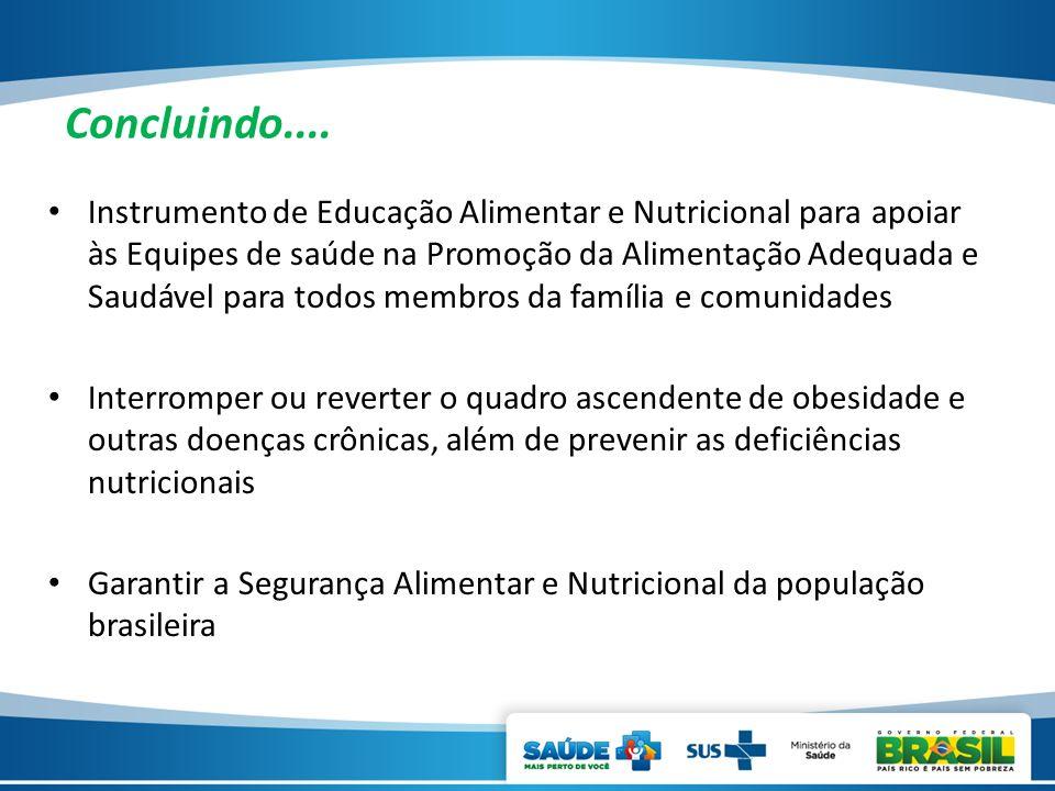 Concluindo.... Instrumento de Educação Alimentar e Nutricional para apoiar às Equipes de saúde na Promoção da Alimentação Adequada e Saudável para tod
