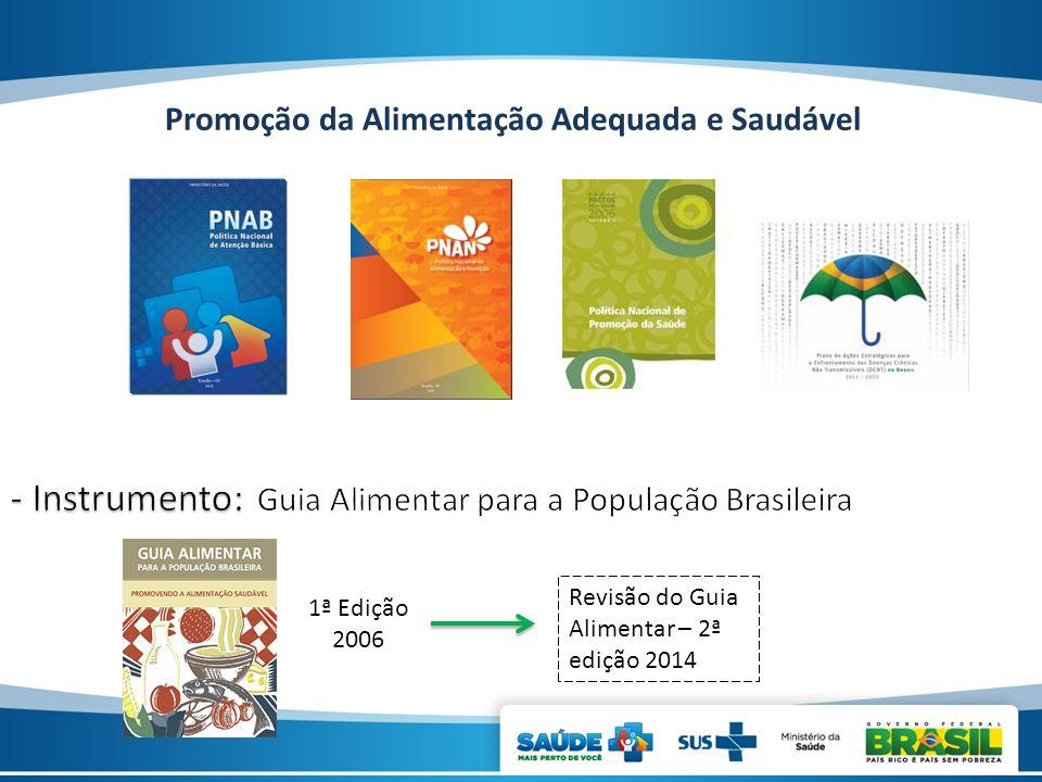 Promoção da Alimentação Adequada e Saudável 1ª Edição 2006 Revisão do Guia Alimentar – 2ª edição 2014