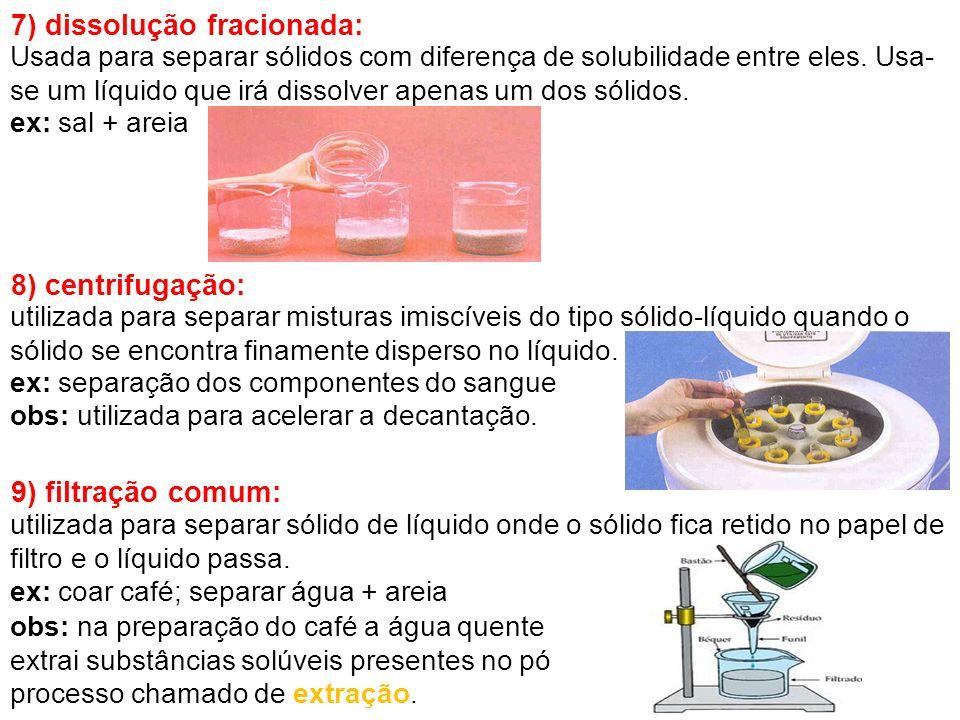 7) dissolução fracionada: Usada para separar sólidos com diferença de solubilidade entre eles. Usa- se um líquido que irá dissolver apenas um dos sóli
