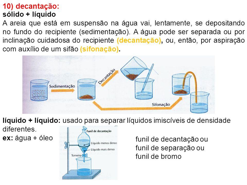 10) decantação: líquido + líquido: usado para separar líquidos imiscíveis de densidade diferentes. ex: água + óleo funil de decantação ou funil de sep