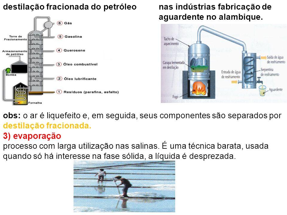 nas indústrias fabricação de aguardente no alambique. 3) evaporação obs: o ar é liquefeito e, em seguida, seus componentes são separados por destilaçã