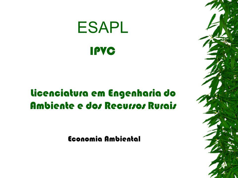 ESAPL IPVC Licenciatura em Engenharia do Ambiente e dos Recursos Rurais Economia Ambiental