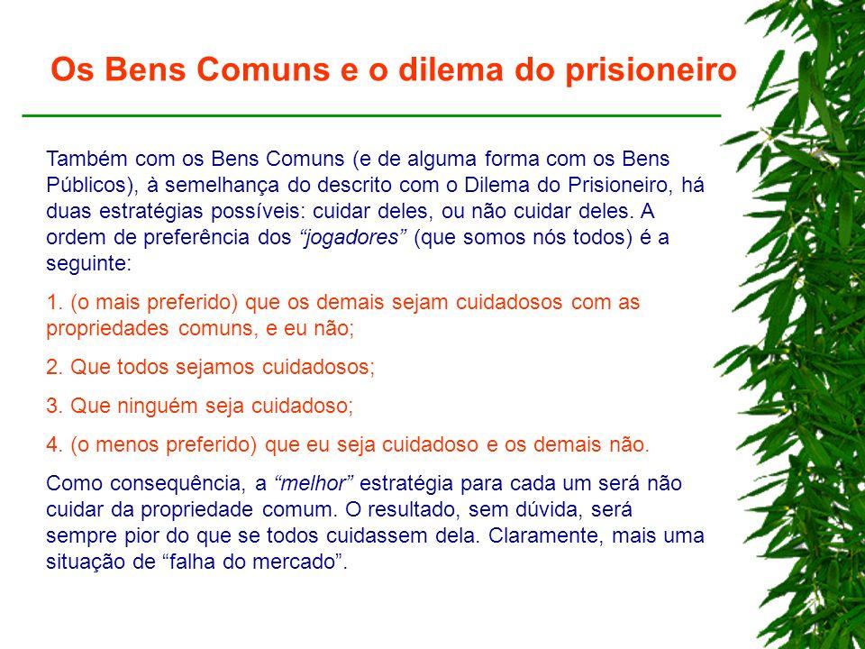 Os Bens Comuns e o dilema do prisioneiro Também com os Bens Comuns (e de alguma forma com os Bens Públicos), à semelhança do descrito com o Dilema do