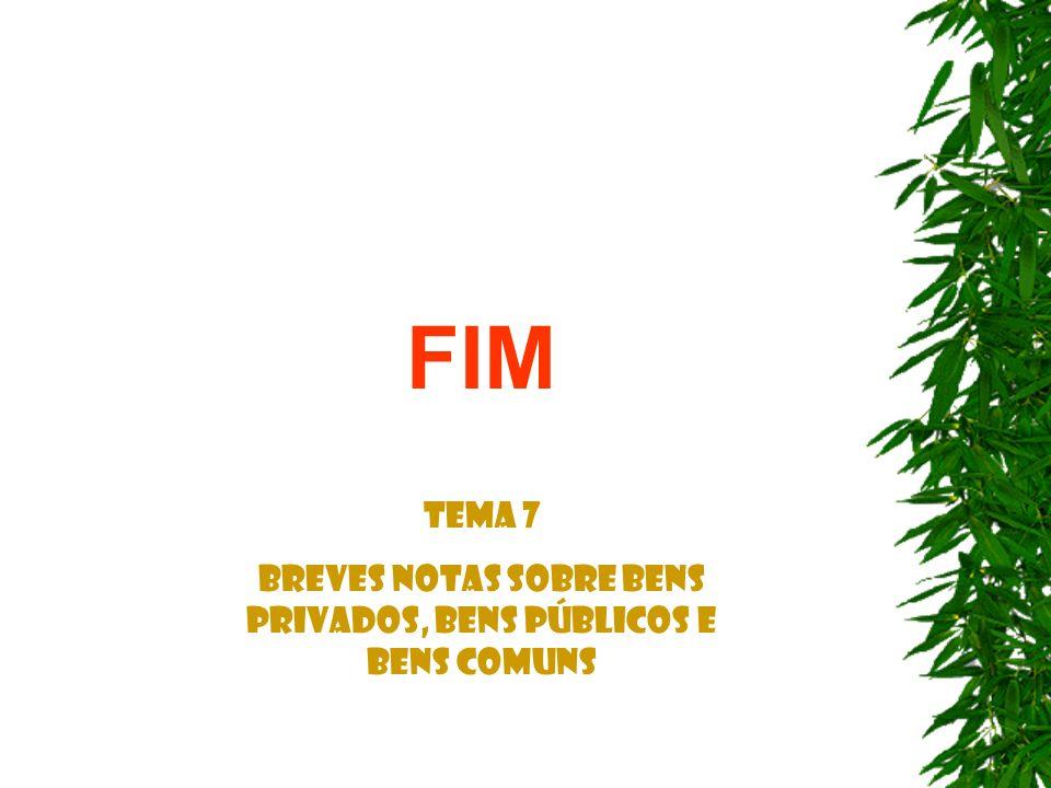 FIM Tema 7 Breves notas sobre Bens Privados, Bens Públicos e Bens Comuns