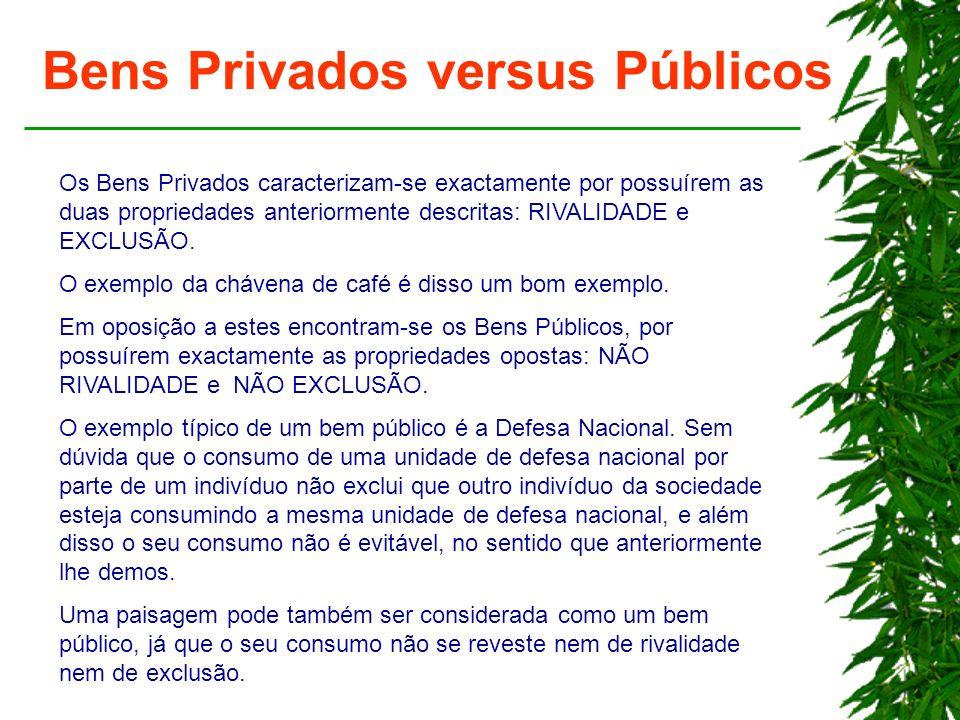 Bens Privados versus Públicos Os Bens Privados caracterizam-se exactamente por possuírem as duas propriedades anteriormente descritas: RIVALIDADE e EX
