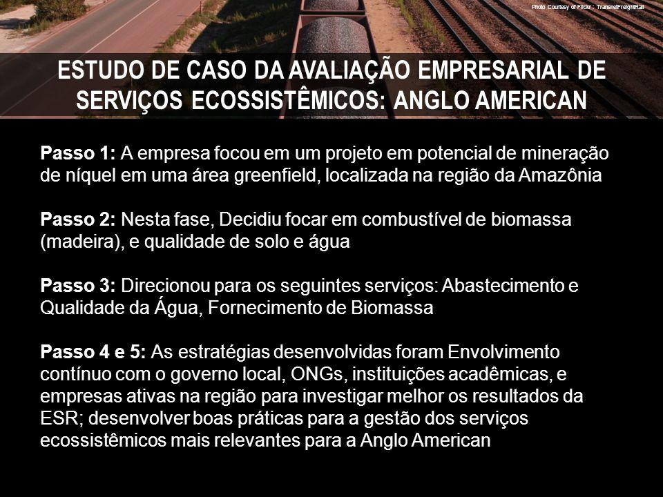 Photo Courtesy of Flickr : TransnetFreightRail ESTUDO DE CASO DA AVALIAÇÃO EMPRESARIAL DE SERVIÇOS ECOSSISTÊMICOS: ANGLO AMERICAN Passo 1: A empresa focou em um projeto em potencial de mineração de níquel em uma área greenfield, localizada na região da Amazônia Passo 2: Nesta fase, Decidiu focar em combustível de biomassa (madeira), e qualidade de solo e água Passo 3: Direcionou para os seguintes serviços: Abastecimento e Qualidade da Água, Fornecimento de Biomassa Passo 4 e 5: As estratégias desenvolvidas foram Envolvimento contínuo com o governo local, ONGs, instituições acadêmicas, e empresas ativas na região para investigar melhor os resultados da ESR; desenvolver boas práticas para a gestão dos serviços ecossistêmicos mais relevantes para a Anglo American