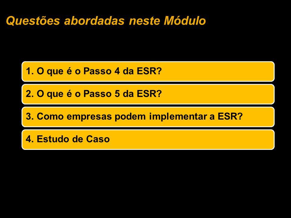 Questões abordadas neste Módulo 1.O que é o Passo 4 da ESR?2.