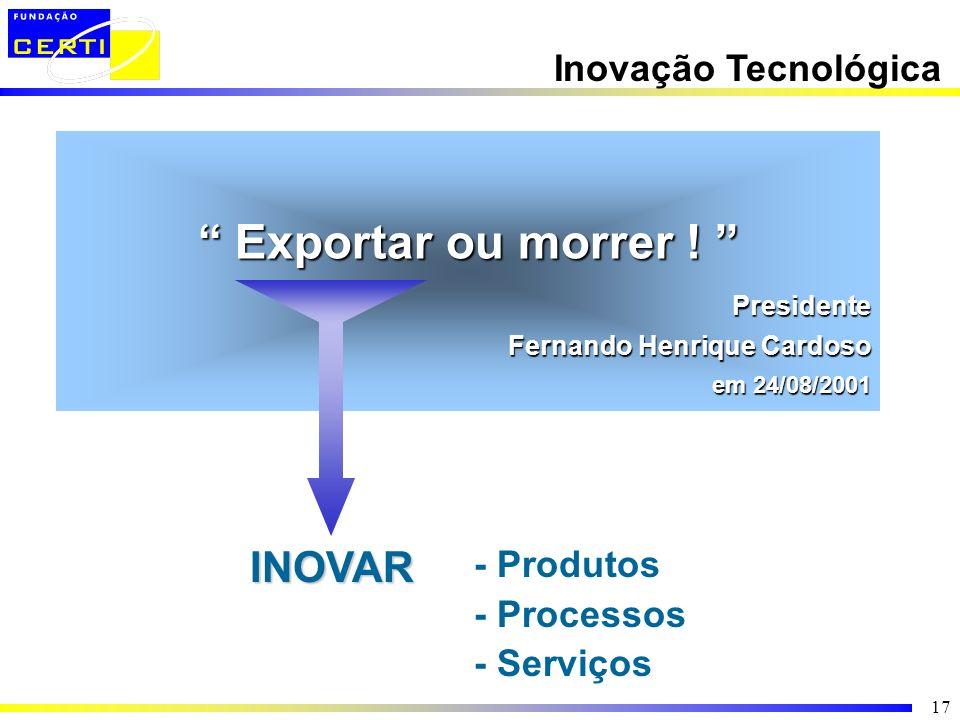 17 - Produtos - Processos - ServiçosINOVAR Exportar ou morrer ! Exportar ou morrer ! Presidente Fernando Henrique Cardoso em 24/08/2001 Inovação Tecno