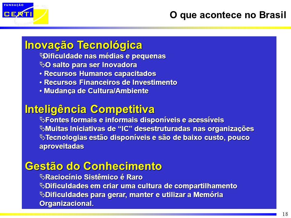 18 O que acontece no Brasil Inovação Tecnológica Dificuldade nas médias e pequenas Dificuldade nas médias e pequenas O salto para ser Inovadora O salt
